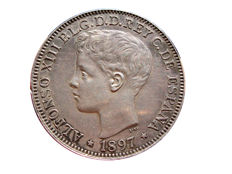 Spain - Alfonso XIII - 1 silver peso from the Philippine Islands -1897 - SG-V