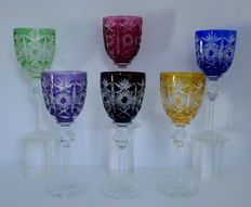 6 cut crystal wine glasses, Bohemia, Czech Republic, late 20th century