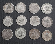 France – 20 Centimes 1866/1867 (lot of 12 coins) - Napoléon III - Silver