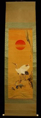 Beautiful scroll painting of two cranes at dawn - Signed with 'Wateí' 和 亭 - Japan - approx. 1920