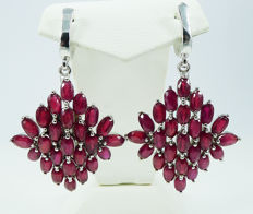 Deep red Ruby dangle earrings - 925 Sterling silver