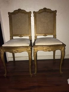 A pair of Regency style gilt wooden chairs- signed Louis Drombard Paris - France - circa 1900