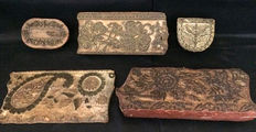 Five various wooden textile printing blocks, England, second half 19th century
