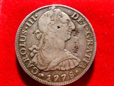 Spain - Carlos III, 8 silver reales struck in the mint of Mexico, 1778. Assayer F.F. (Chinese counterstamps)