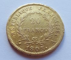 France - 20 Francs 1808 A (Paris) -Napoleon I - gold
