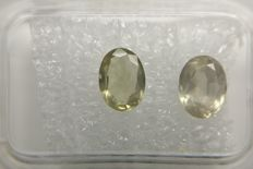 Couple Sapphire Light Yellowish Green 2.39 ct    No Reserve Price