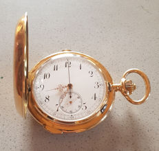 15. Powerful 14kt Gold double casing. Pocket watch - quarter repeater with 3 tone - stop watch - circa 1900
