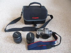 Canon analogue single-lens reflex camera EOS 3000N + Canon lens 28-80mm + Canon lens 80-200mm + Canon camera bag