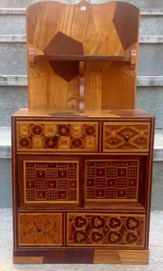 Wooden goldsmith chest with marquetry - early 20th century