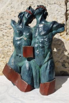 "Andres Gomez - ""Los Cómplices"" (The Accomplices) - Bronze Sculpture on Resin - Stamp of the artist (4.2 kg / 35 cm)"