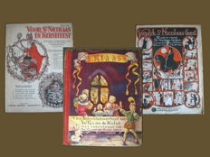 Sinterklaas story book -1st edition 1945 - Klaas van de Hulst and two books with sheet music by resp. Poeltuyn and Cor & Smit