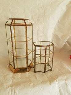 Two Glass Display Cabinets for Knickknacks - Brass Frame - 1970s