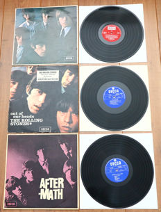 The Rolling Stones- Great lot of 3 original lp's in mono: No. 2 (UK 1970, red boxed Decca), Out Of Our Heads (1st Dutch mono) & Aftermath (1st Dutch mono)
