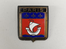 Vintage Brass and Enamel Paris Car Badge Auto Emblem Complete with Gasket and Fixings