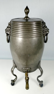 Pewter barrel-shaped samovar The Hague IHR marked Excellent full condition