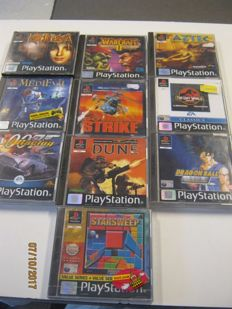 10 original ps1 games. Some very rare. One sealed. Games like: Kodelka, Dragon Ball Z, Starsweep and more