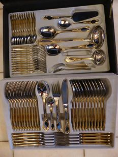 SBS Solingen cutlery - 70-piece complete - 24 carat gold plated - including certificates and accompanying case