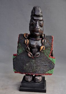 Authentic old African Ere Ibedji twin figure with a small jacket - YORUBA - Nigeria