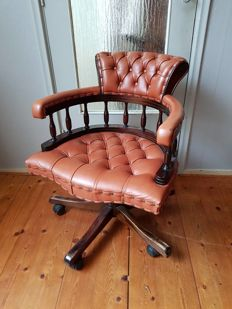 Chesterfield style adjustable leather desk chair, England - late 20th century