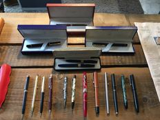 Lot 17 pens, fountain, pencil and rollerball