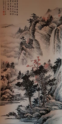Hand-painted scroll painting《宋美龄-山水》 - China - late 20th century