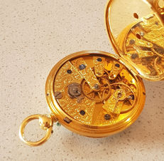 25. English 18kt gold pocket watch with magnificent stylised movement circa 1870