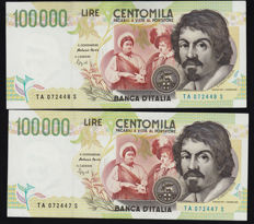 Italy - 4 x 100000 - 1st and 2nd type - GIGANTE BI 84A and BI 85E