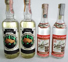 4 Vodkas Collection Old late 70's : 2 x Russian Stolichnaya 50Cl 40% + 2 x Polish Zubrowka 75Cl 40% Alcohol