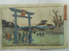 Original print by Utagawa Hiroshige I (1797-1858) - 'The Tomigaoka Hachiman Sanctuary at Fukagawa' from the series 'Famous Places in Edo' - Japan - 1832-1834.