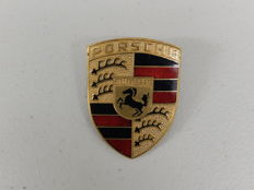 Vintage Original Genuine Porsche Bonnet Enamel Badge Code 993 559 211 00 With Original Studs Approx 7 cms x 5 cms