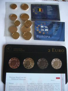 "Monaco - 2 Euro 20012 ""Precious Metal Set"" (4 plated coins) + 2 sets coin euro gold plated ( finlande , belgique  ) + medal"