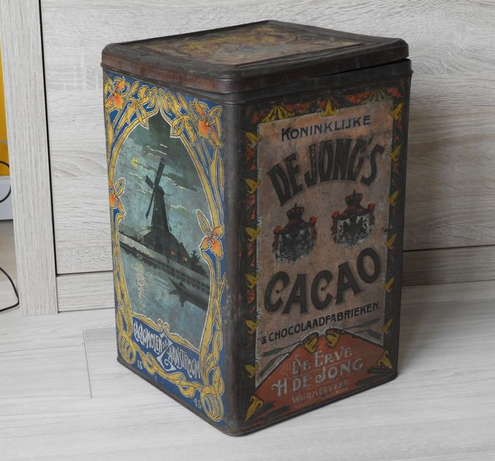 Shop tin Erven de Jong Cacao - early 20th century