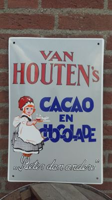 Enamel Van Houten's Cacao en Chocolade advertising sign- sign - Late 20th century