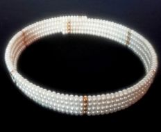 Original 4 row pearl necklace with  Freshwater Pearl Necklace 501 pearl