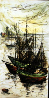 Hand painted tile panel with moored fishing boats