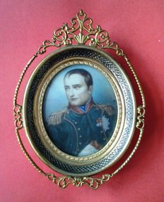 "Oval miniature portrait Napoleon - 2nd half of the 20th century - Signed - Origin ""Kunsthandel Roelofs"" in Amsterdam."