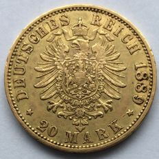 Germany (Prussia) - 20 Mark 1889 A - Wilhelm II - gold