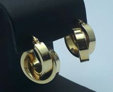 14 Ct  Gold Cross Circle Earrings