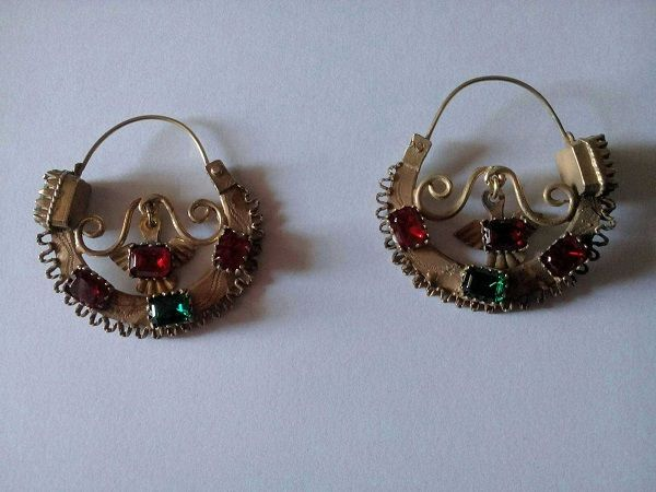 Antique silver hoop earrings plated in 24 kt gold