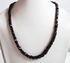Black Spinel Flat Square Necklace with 14k gold Clasp- 18 inch -167 carats