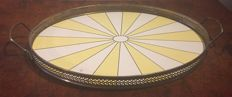 Art Deco oval porcelain tile serving tray