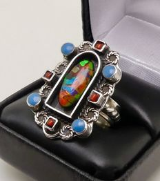 3ct Ammolite Opal signed silver Navajo ring - NO reserve