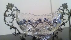 Large fruit bowl  crystal with metal mount