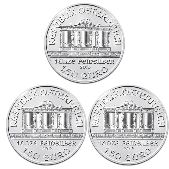 Austria -- €1.50 coins from 2013 'Wiener Philharmoniker' (lot of 3 coins) -- 3 × 1 oz Silver