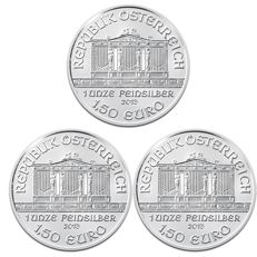Austria – €1.50 coins from 2013 'Wiener Philharmoniker' (lot of 3 coins) – 3 x 1 oz Silver