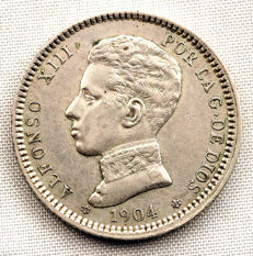 Spain – Alfonso XIII – VARIANT – 1 Silver peseta – 1904 – Madrid
