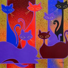 Kino Mistral - Cats Team, Red & violet
