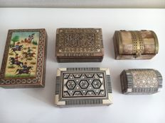 Five Wooden Boxes made of Wood, Inlaid with Intarsia of Various Materials and Hand-Painted