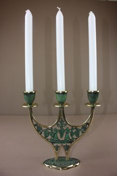 Jewish candlestick / Brass / Eilat green / Israel / Early second half 20th century
