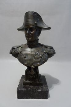 Bronze bust Napoleon on marble plinth - 20th century